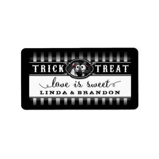 Black & White Halloween Wedding Name Love is Sweet Address Label