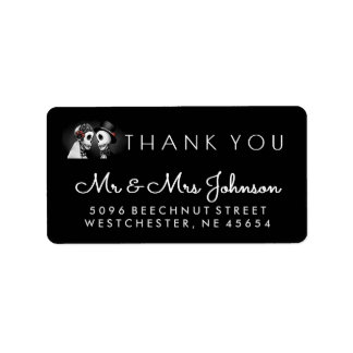 Black & White Halloween Wedding Skeleton Thank You Label