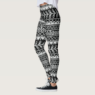 Black & White Hand Drawn Doodle Patterns in Rows Leggings