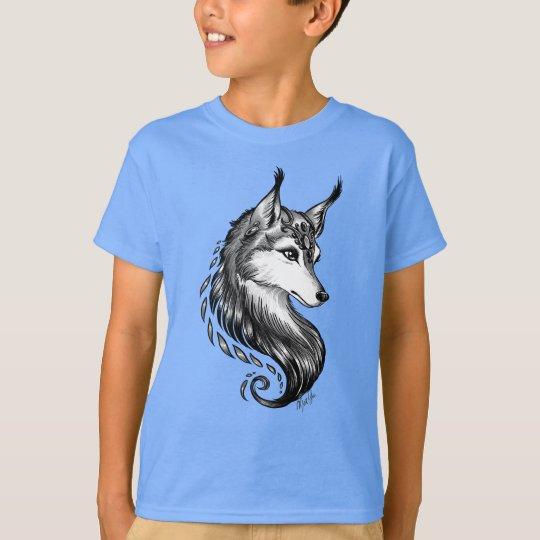 Black White Hand Drawn Wolf Boy's Blue T-shirt