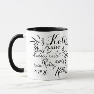 black white handwritten names mug