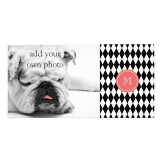 Black White Harlequin Pattern, Coral Monogram Photo Greeting Card