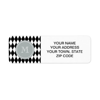 Black White Harlequin Pattern, Gray Monogram Return Address Label