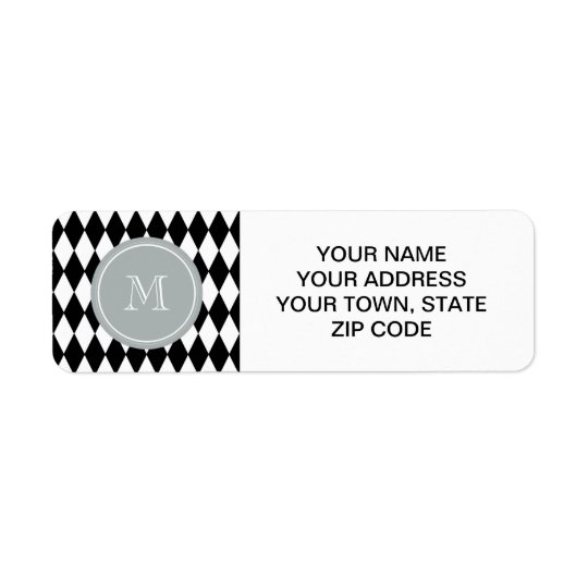 Black White Harlequin Pattern, Grey Monogram Return Address Label