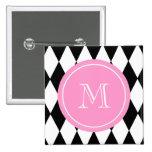 Black White Harlequin Pattern, Pink Monogram Pinback Buttons