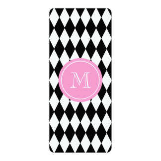 "Black White Harlequin Pattern, Pink Monogram 4"" X 9.25"" Invitation Card"