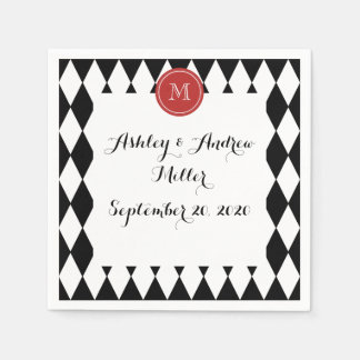 Black White Harlequin Pattern, Red Monogram Paper Napkin