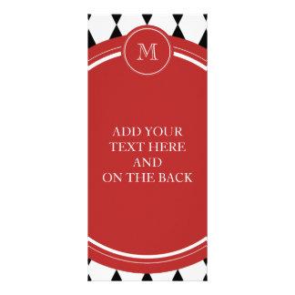 Black White Harlequin Pattern, Red Monogram Full Colour Rack Card