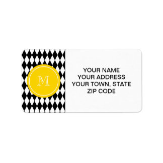 Black White Harlequin Pattern, Yellow Monogram Address Label