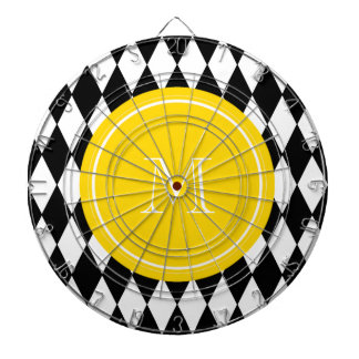 Black White Harlequin Pattern, Yellow Monogram Dartboard
