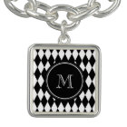 Black White Harlequin Pattern, Your Initial
