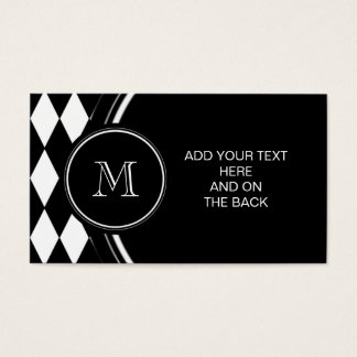 Black White Harlequin Pattern, Your Initial Business Card