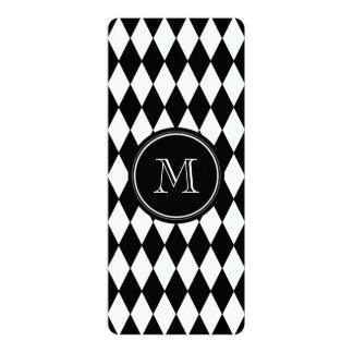 Black White Harlequin Pattern, Your Initial 10 Cm X 24 Cm Invitation Card