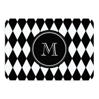 Black White Harlequin Pattern, Your Initial 3.5x5 Paper Invitation Card