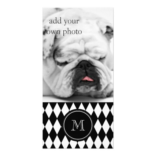 Black White Harlequin Pattern, Your Initial Photo Card