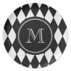 Black White Harlequin Pattern, Your Initial Plate