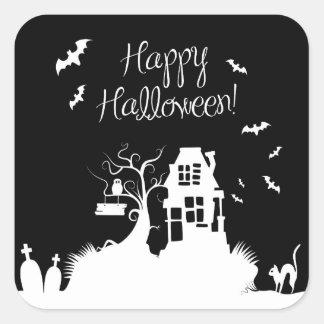 Black & White Haunted House Halloween Sticker