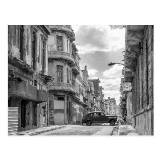 Black & White Havana Street Car Cuba Travel Photo Postcard
