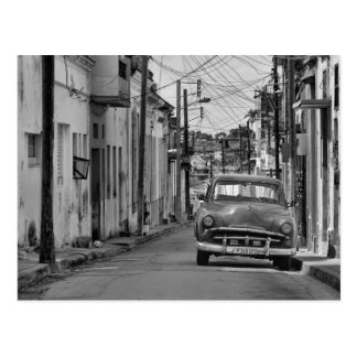 Black White Havana Street Oldtimer Car Cuba Travel Postcard