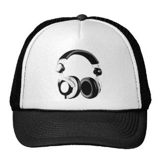 Black & White Headphone Artwork Hats