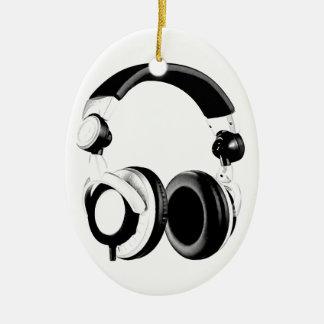 Black & White Headphone Artwork Ceramic Oval Decoration