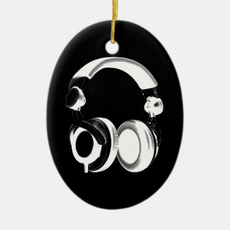 Black & White Headphone Silhouette Ceramic Oval Decoration