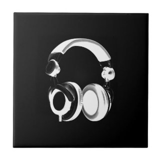 Black White Headphone Silhouette Ceramic Tile