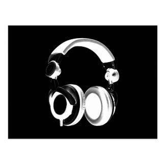 Black White Headphone Silhouette Post Card