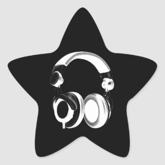 Black & White Headphone Silhouette Star Sticker