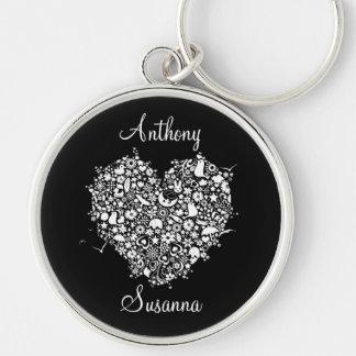 Black & White Heart Wedding Novelty Gift Key Ring