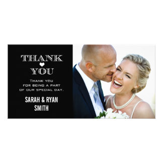 Black & White Heart Wedding Photo Thank You Cards