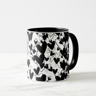 Black & White Hearts Pattern Dramatic Impressive Mug