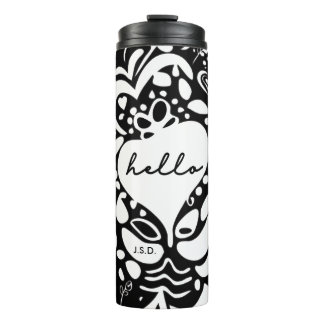 Black & white, hearts pattern, monogram, 'Hello' Thermal Tumbler