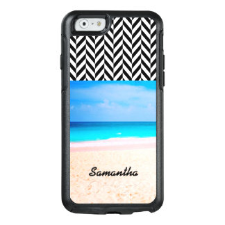 Black & White Herringbone - Beach View - OtterBox iPhone 6/6s Case