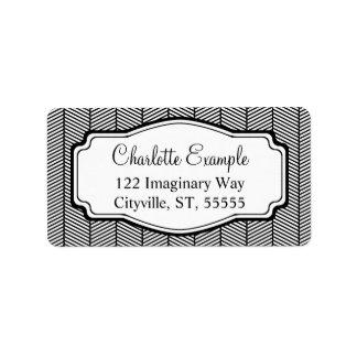 Black White Herringbone Classic Custom Label