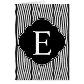 Black White Herringbone Monogram Card