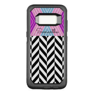 Black & White Herringbone Pattern with Monogram - OtterBox Commuter Samsung Galaxy S8 Case