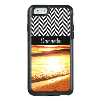 Black & White Herringbone - Sunset Beach Waves - OtterBox iPhone 6/6s Case