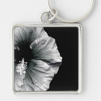 Black & White Hibiscus Flower Photography Silver-Colored Square Key Ring