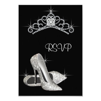 Black White High Heels Quinceanera RSVP Card