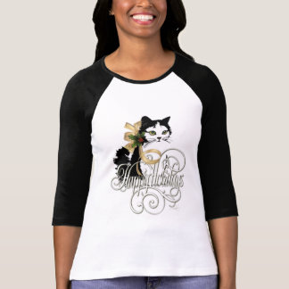Black & White Holiday Cat T-Shirt