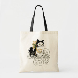 Black & White Holiday Cat Tote Bag
