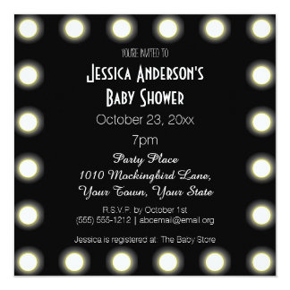 "Black & White Hollywood Theme Baby Shower 5.25"" Square Invitation Card"