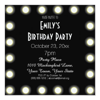Black & White Hollywood Theme Birthday Party 13 Cm X 13 Cm Square Invitation Card