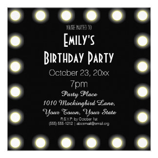 Black & White Hollywood Theme Birthday Party Personalized Invitation