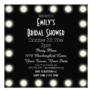Black White Hollywood Theme Bridal Shower Personalized Invites