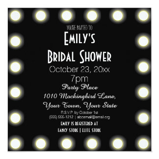 Black & White Hollywood Theme Bridal Shower Personalized Invites