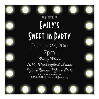 Black & White Hollywood Theme Sweet 16 Birthday Custom Invitation