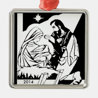 Black/White Holy Family Christmas Manger Scene Silver-Colored Square Decoration