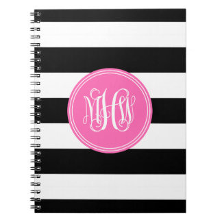 Black White Horiz Stripe #3 Hot Pink Vine Monogram Spiral Note Books